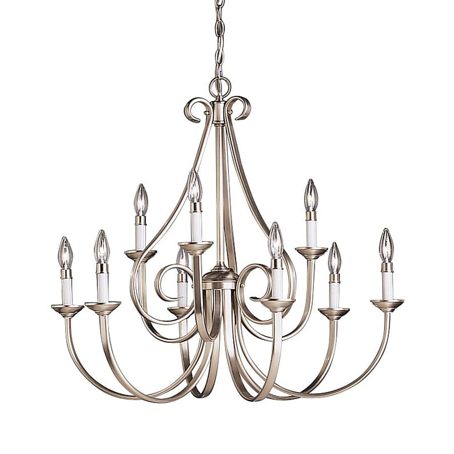 Kichler Lighting Dover 32.5-in 9-Light Brushed Nickel Country Cottage Candle Chandelier