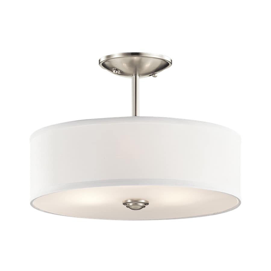lighting shailene 14 in w brushed nickel fabric semi flush mount light. Black Bedroom Furniture Sets. Home Design Ideas