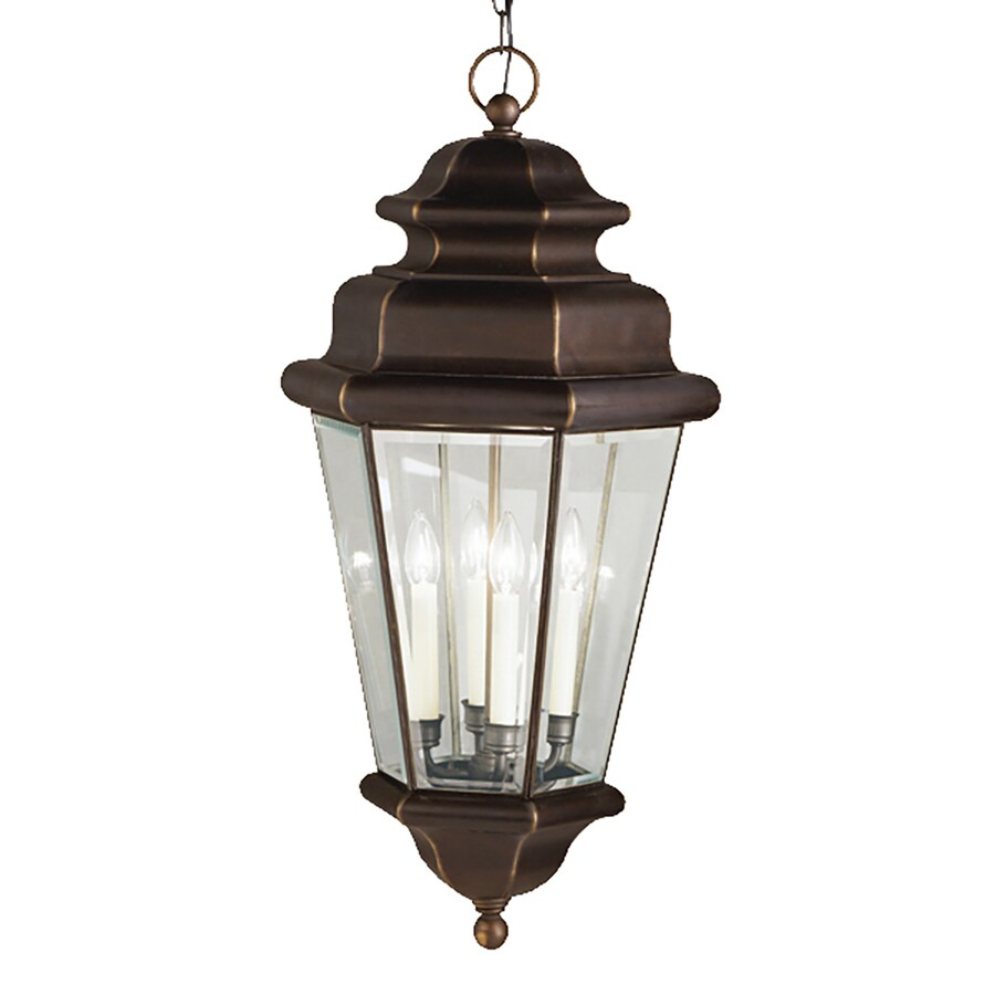 Kichler Lighting Savannah Estate 15-in Olde Bronze Vintage Hardwired Single Clear Glass Lantern Pendant