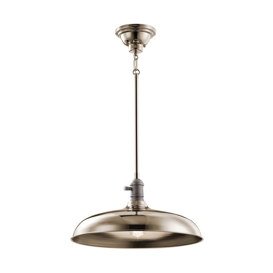 Kichler Lighting Cobson 16-in Polished Nickel Industrial Hardwired Single Warehouse Pendant