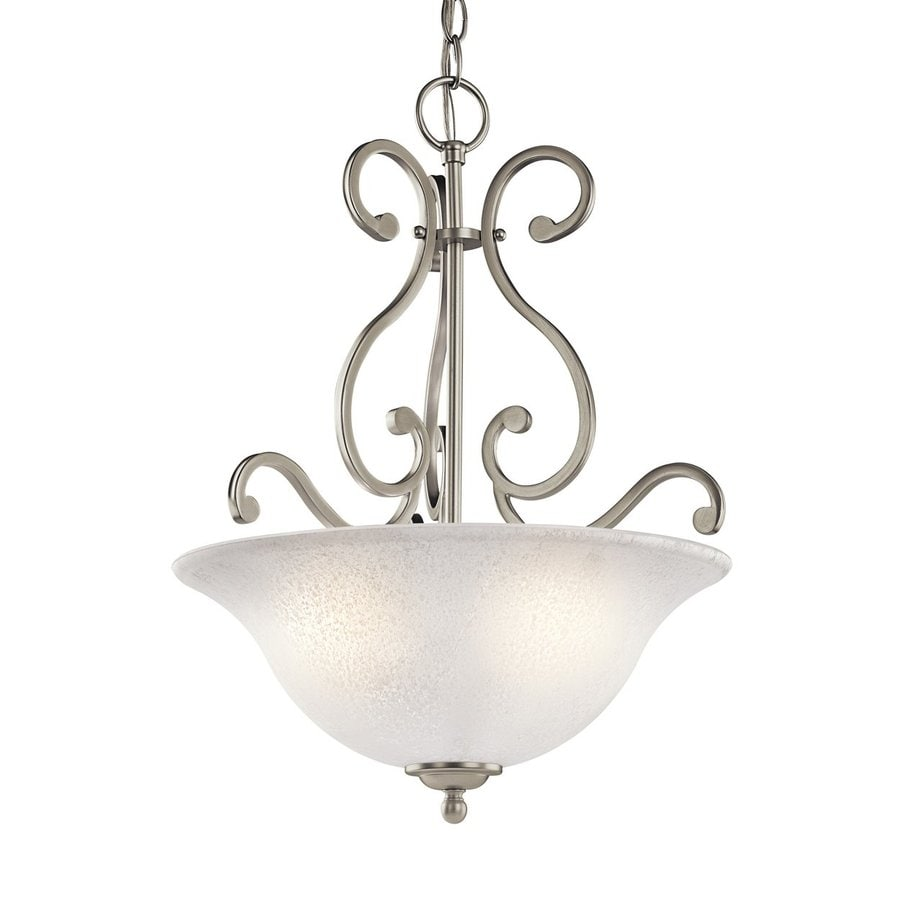 Kichler Lighting Camerena 18-in Brushed Nickel Country Cottage Hardwired Single Textured Glass Bowl Pendant