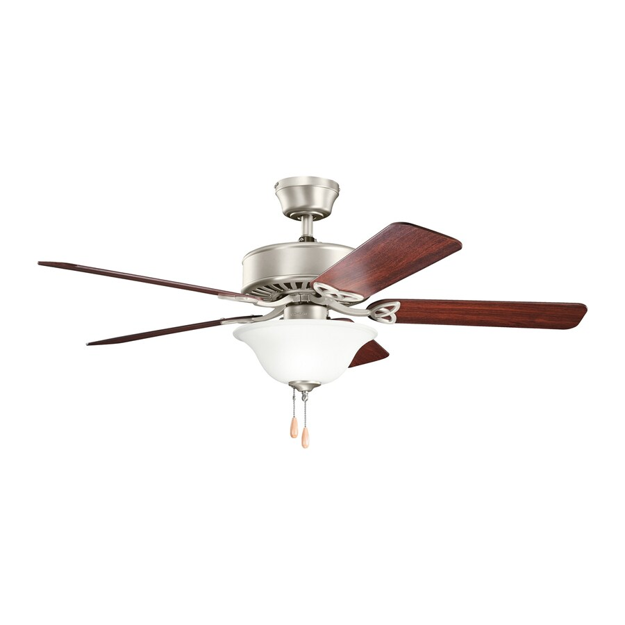 Kichler Lighting Renew Select Es 50-in Brushed Nickel Downrod or Close Mount Indoor Ceiling Fan with Light Kit (5-Blade) ENERGY STAR