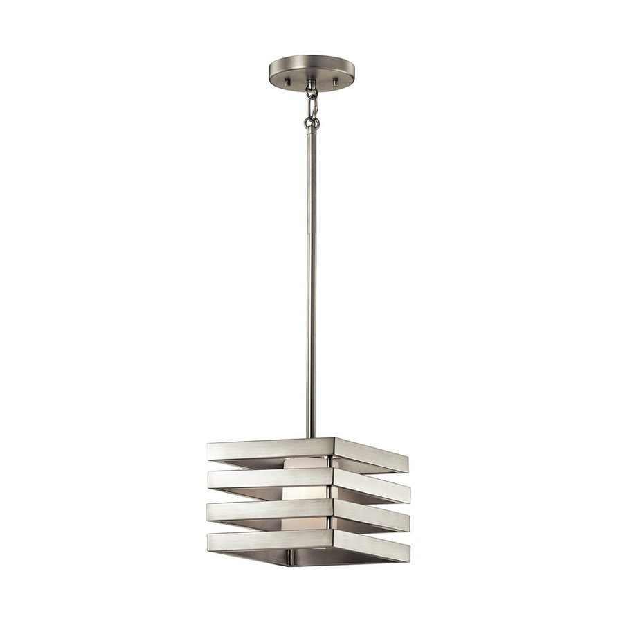 Kichler Lighting Realta 7-in Brushed Nickel Industrial Hardwired Mini Etched Glass Square Pendant