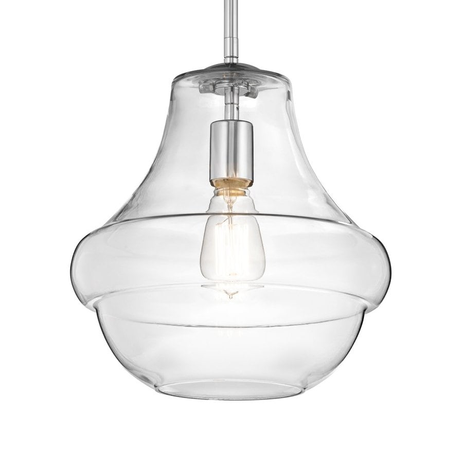 Kichler Lighting Everly 12-in Chrome Vintage Hardwired Single Clear Glass Schoolhouse Pendant