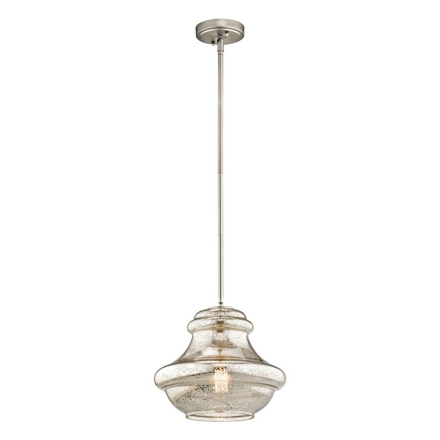Shop kichler lighting everly 12 in brushed nickel vintage for Kichler kitchen pendant lighting