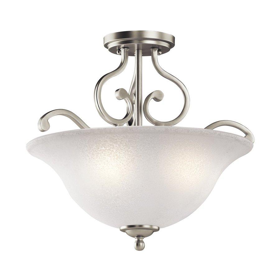 Shop kichler lighting camerena 18 in w brushed nickel semi Semi flush mount ceiling lights