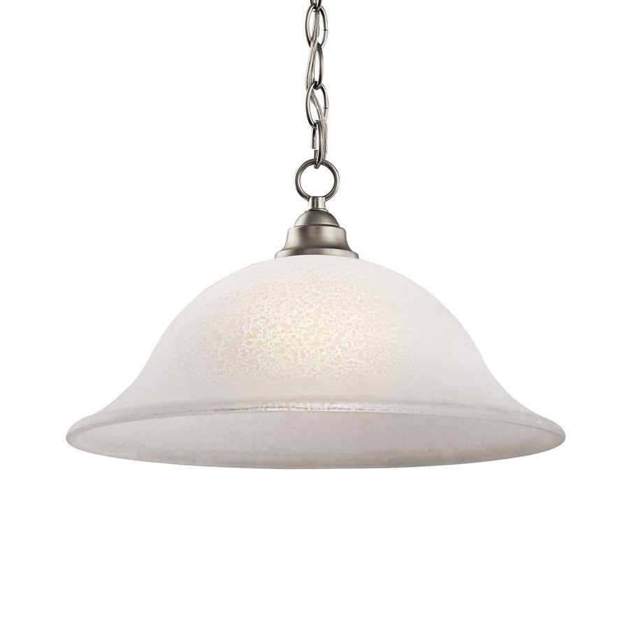 Kichler Lighting Camerena 15.75-in Brushed Nickel Country Cottage Hardwired Single Textured Glass Dome Pendant