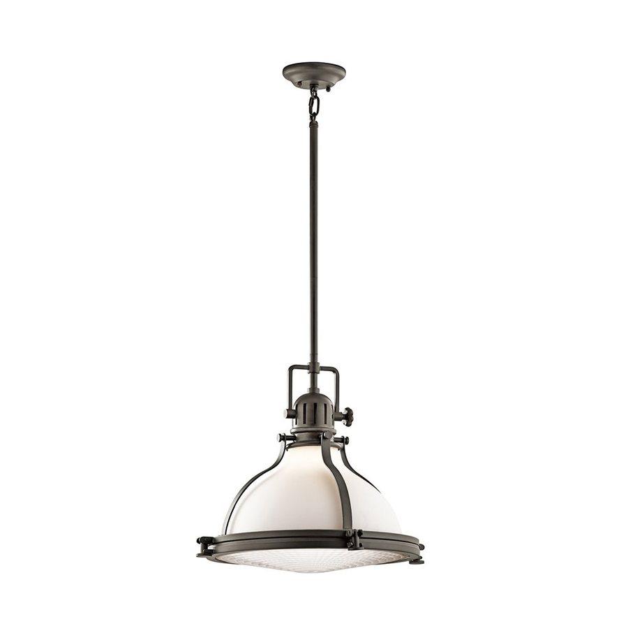 Kichler Lighting Hatteras Bay 18-in Olde Bronze Vintage Hardwired Single Etched Glass Warehouse Pendant