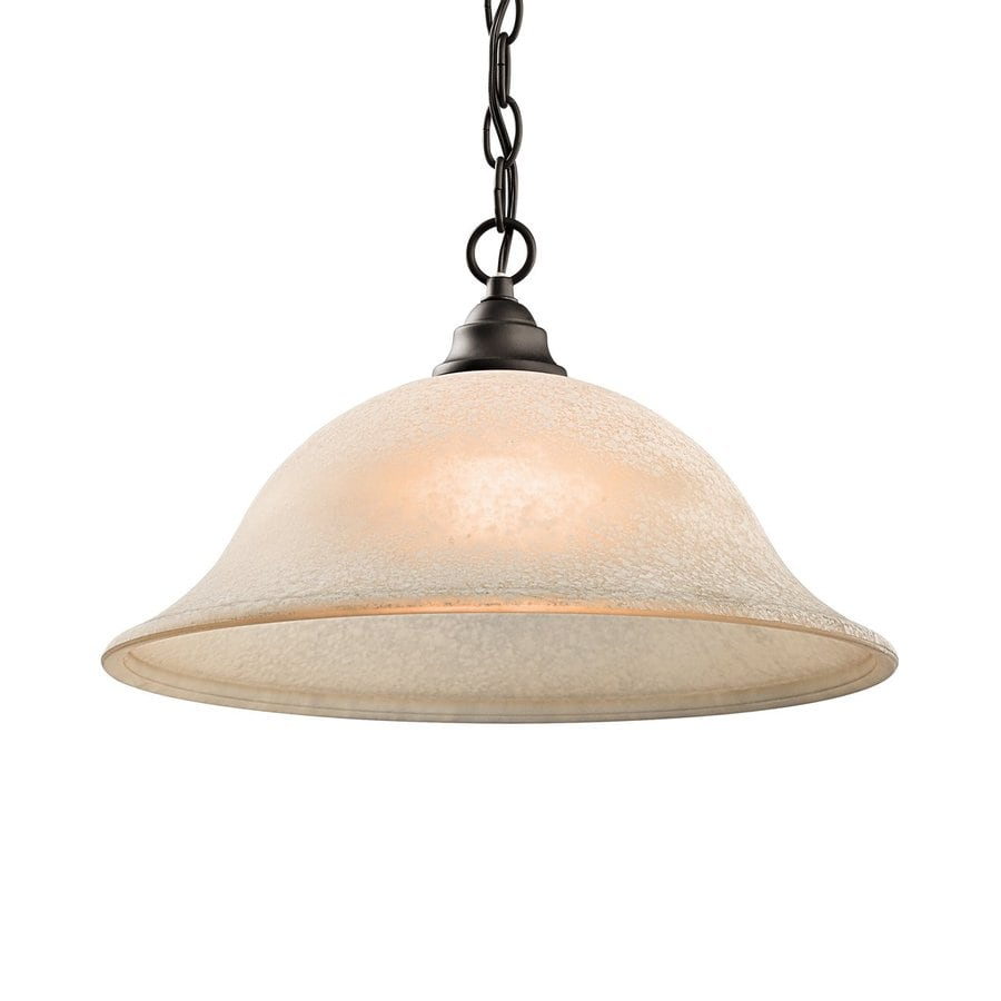 Kichler Lighting Camerena 15.75-in Olde Bronze Country Cottage Hardwired Single Textured Glass Dome Pendant