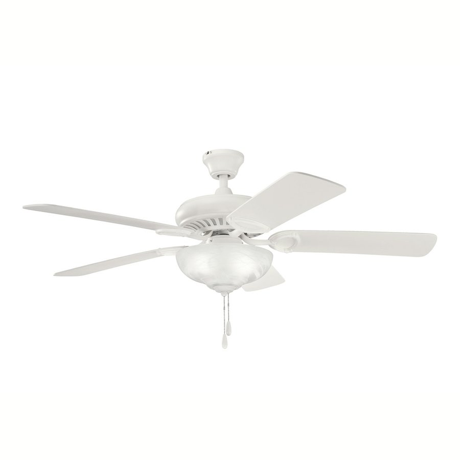 Kichler Lighting Sutter Place Select 52-in Satin Natural White Downrod or Close Mount Indoor Ceiling Fan with Light Kit (5-Blade)