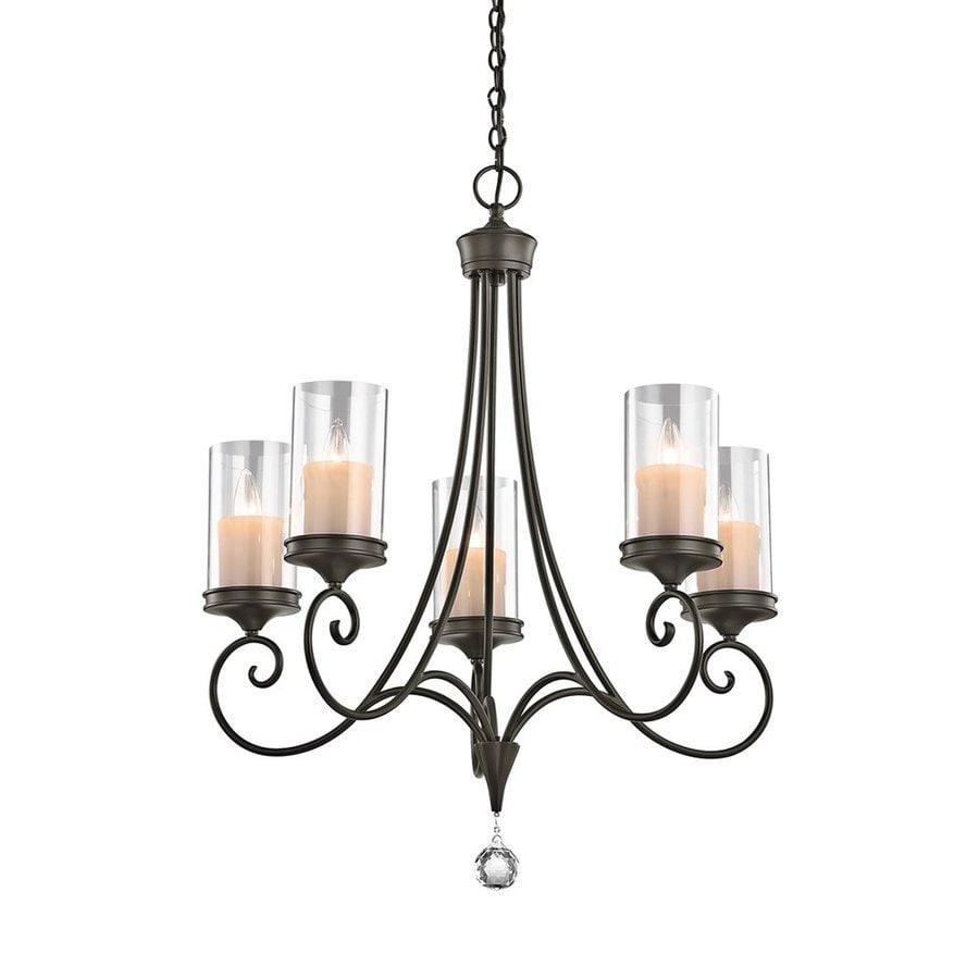 Kichler Lighting Laurel 26.75-in 5-Light Shadow Bronze Vintage Clear Glass Candle Chandelier