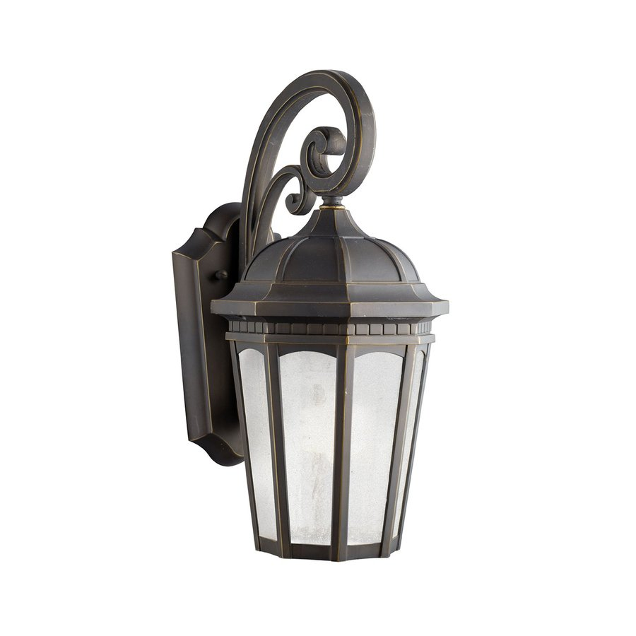 Kichler Lighting Courtyard 17.75-in H Rubbed Bronze Fluorescent Outdoor Wall Light