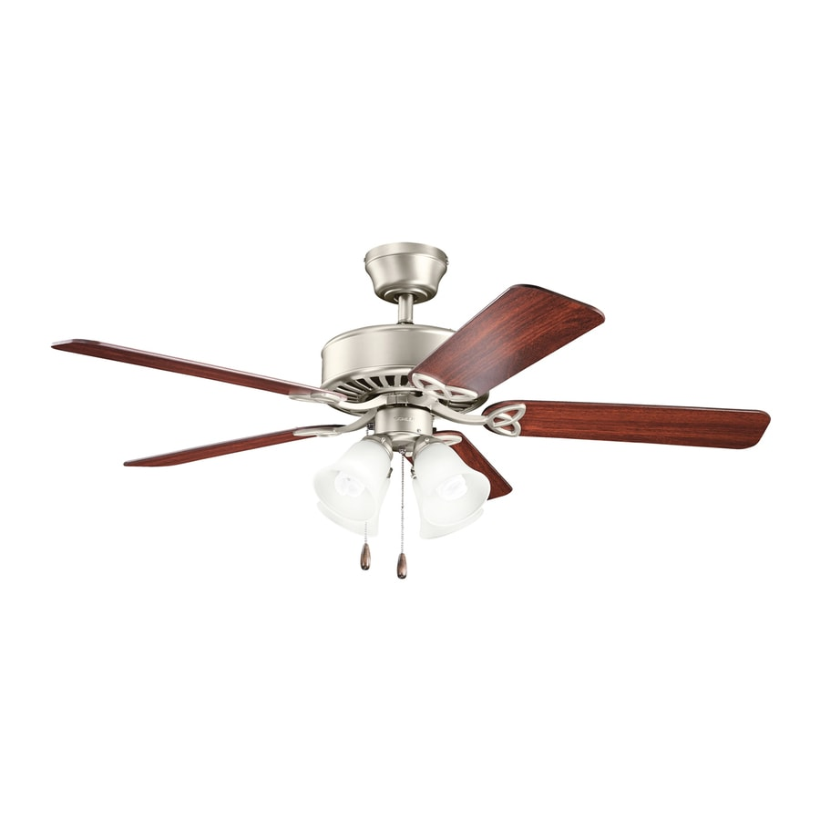 Kichler Lighting Renew Premier 50-in Brushed Nickel Downrod or Close Mount Indoor Ceiling Fan with Light Kit (5-Blade)