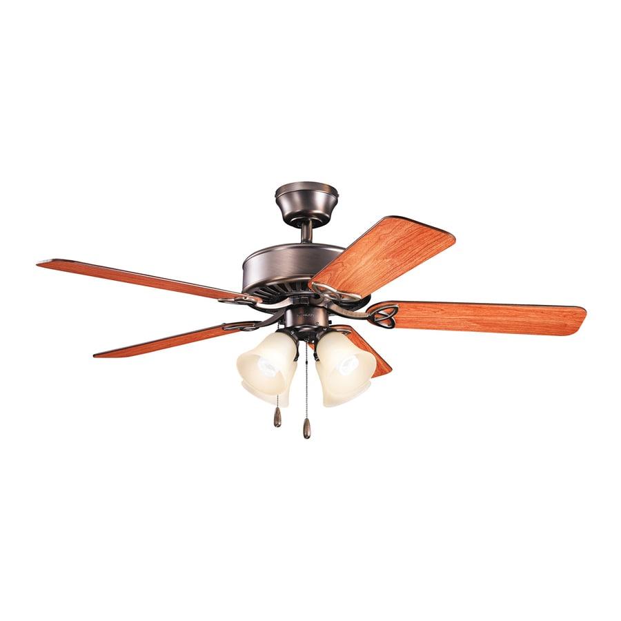 Kichler Lighting Renew Premier 50-in Oil Brushed Bronze Downrod or Close Mount Indoor Ceiling Fan with Light Kit (5-Blade)