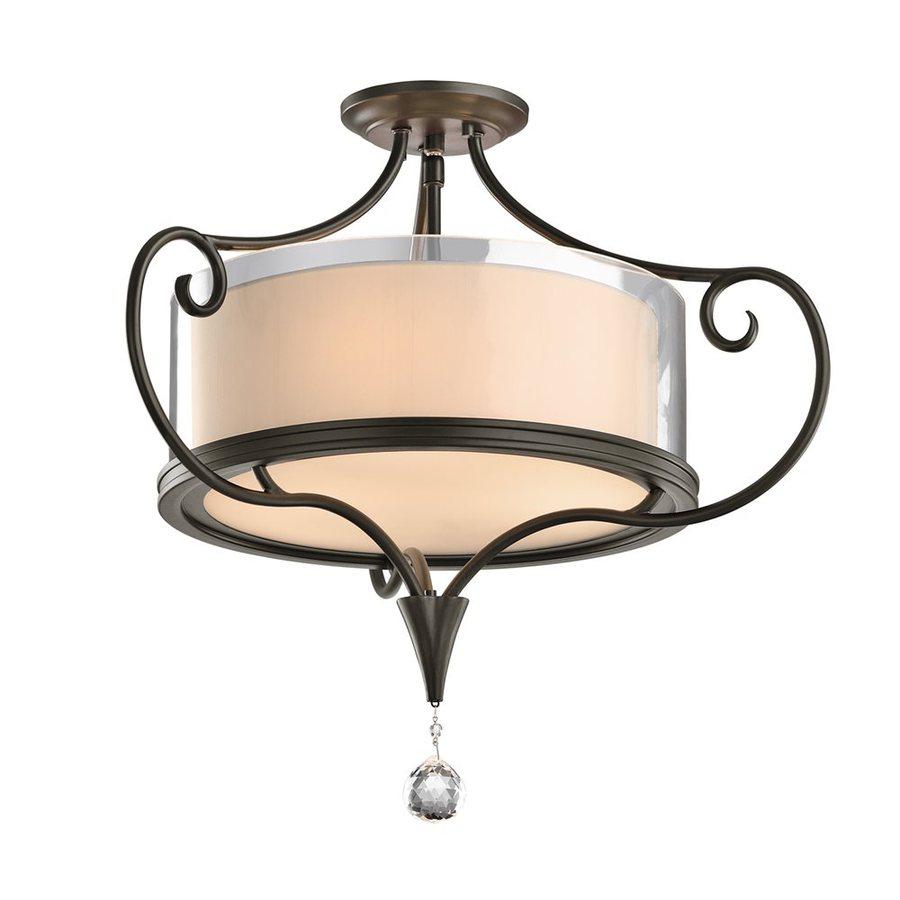 Kichler Lighting Lara 21.25-in W Shadow Bronze Fabric Crystal Accent Semi-Flush Mount Light
