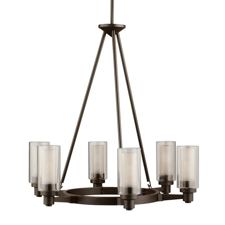 Kichler Lighting Circolo 26-in 6-Light Olde Bronze Clear Glass Shaded Chandelier