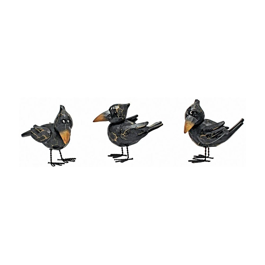 Design Toscano Myths and Legends Set of 3 3.5-in Raven Garden Statues