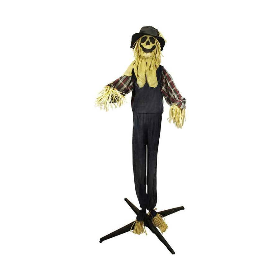 Northlight Animatronic Pre-Lit Polyester Freestanding Scarecrow Greeter with Red LED Lights