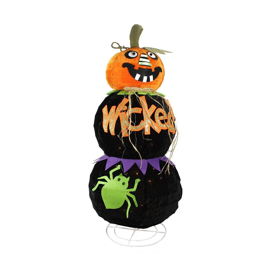 Northlight Spooky Jack-O-Lantern Pre-Lit Wicked Fabric Freestanding Greeter with White Incandescent Lights