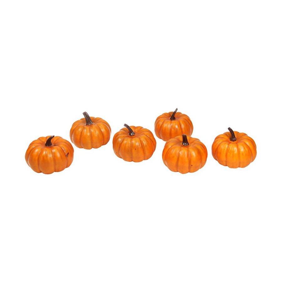 Northlight 6-Pack 4-in W Bright Orange Halloween Mini Pumpkins