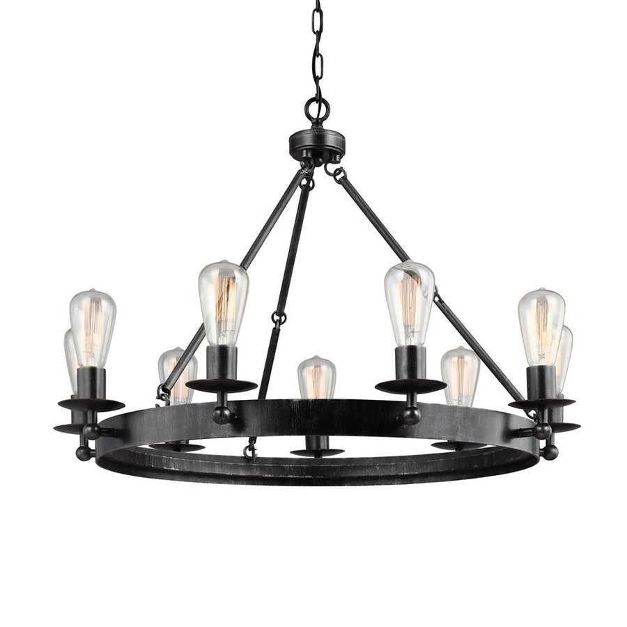 Sea Gull Lighting Ravenwood Manor 31-in 9-Light Stardust Industrial Candle Chandelier