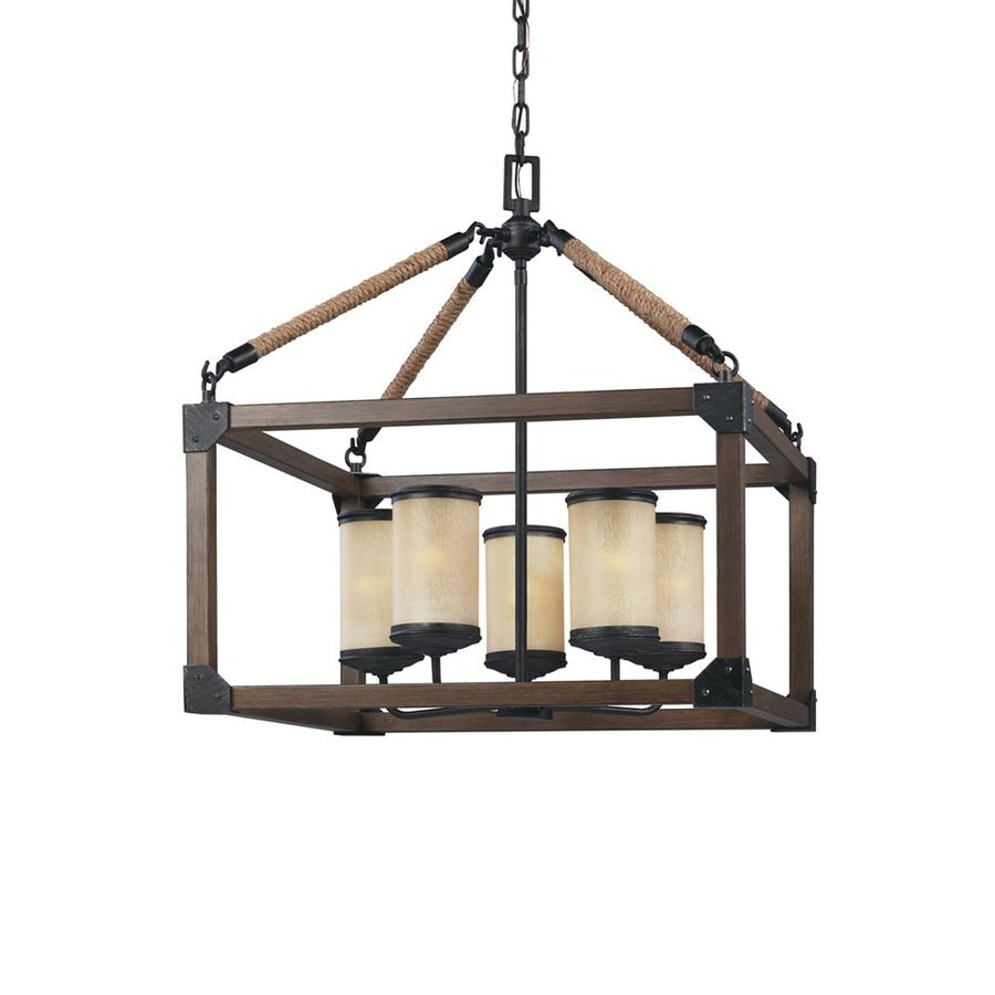 Sea Gull Lighting Dunning 22-in Stardust Rustic Single Cage Pendant