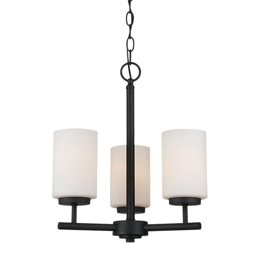 Sea Gull Lighting Oslo 15-in 3-Light Blacksmith Etched Glass Shaded Chandelier