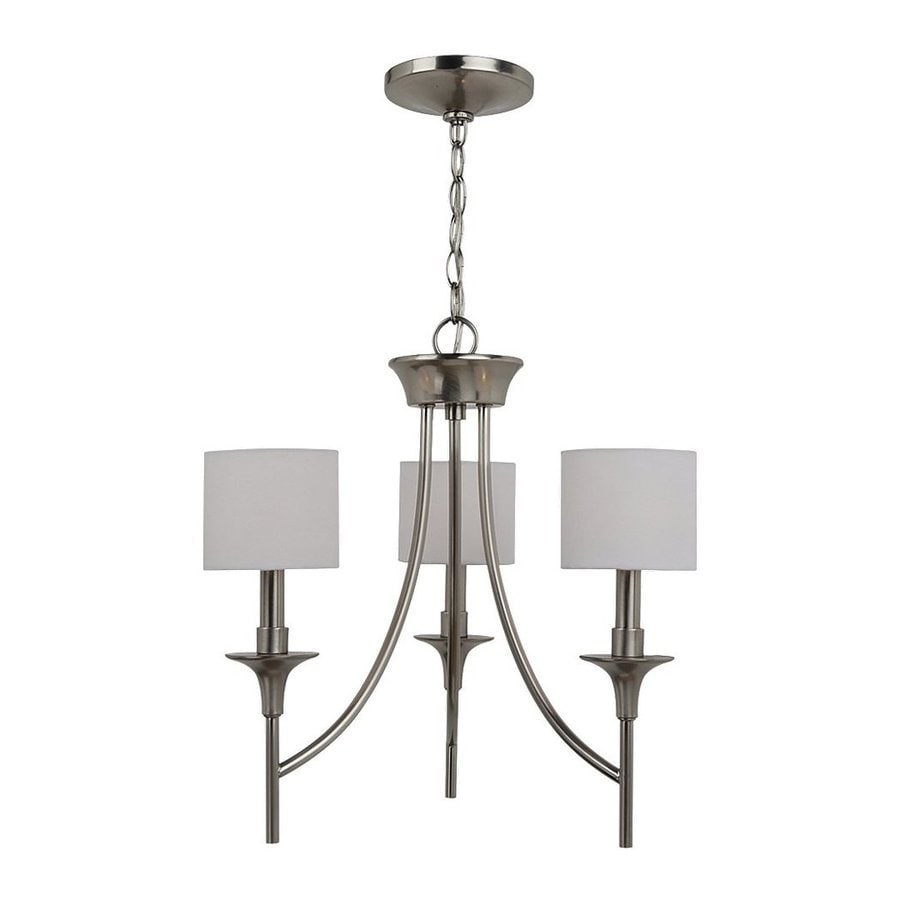 Sea Gull Lighting Stirling 19-in 3-Light Brushed Nickel Shaded Chandelier