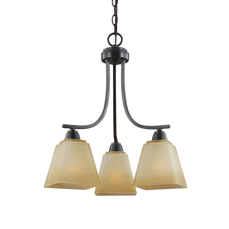 Sea Gull Lighting Parkfield 18.375-in 3-Light Flemish Bronze Tinted Glass Shaded Chandelier