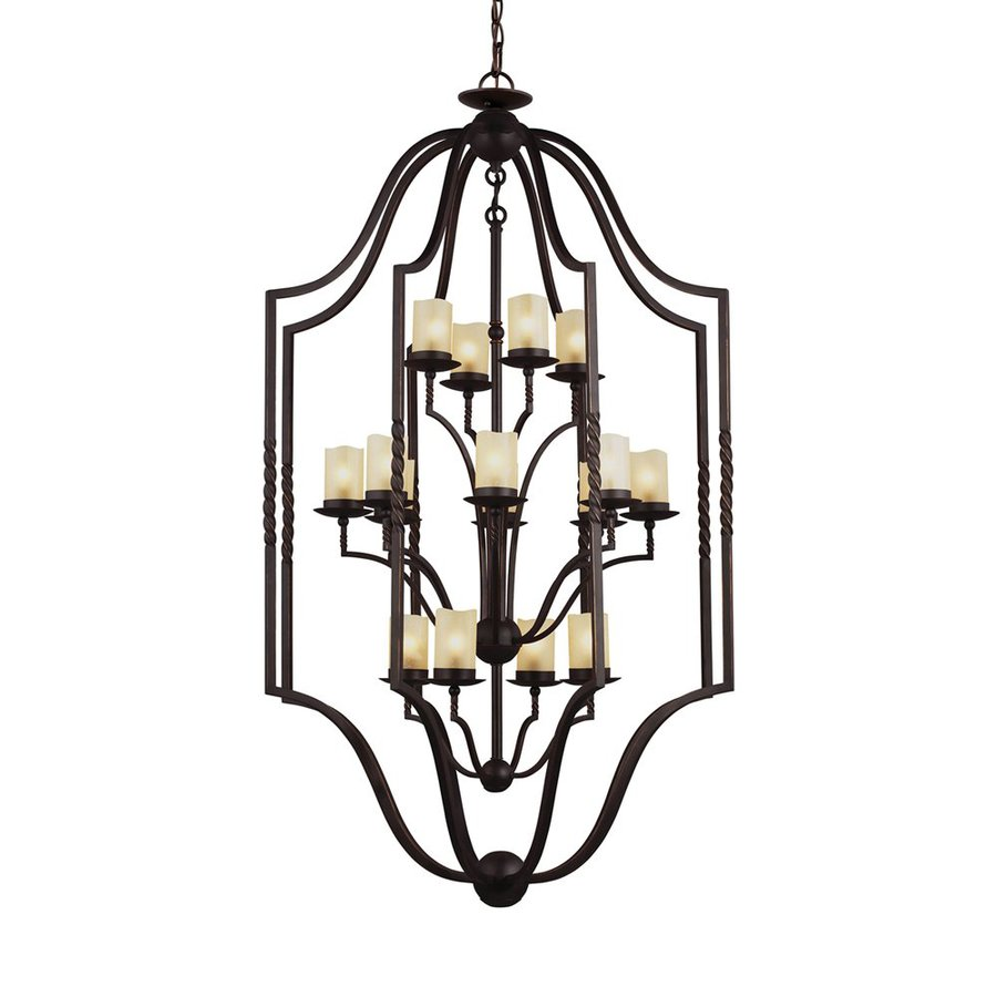 Sea Gull Lighting Trempealeau 34-in 16-Light Roman Bronze Rustic Seeded Glass Cage Chandelier