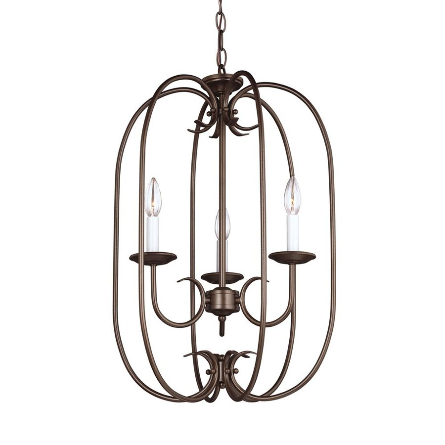 Sea Gull Lighting Holman 16.25-in 3-Light Bell Metal Bronze Vintage Cage Chandelier