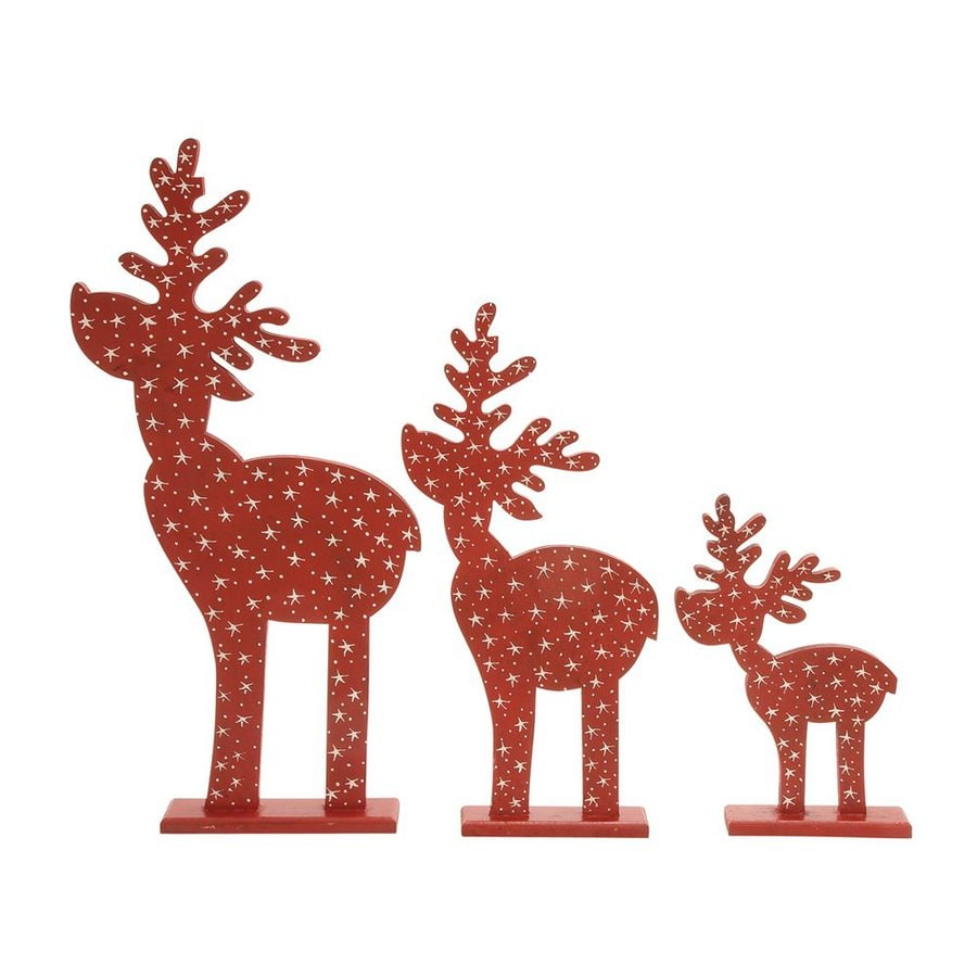 Shop woodland imports 3 pack tabletop figurine reindeer for Christmas deer decorations indoor