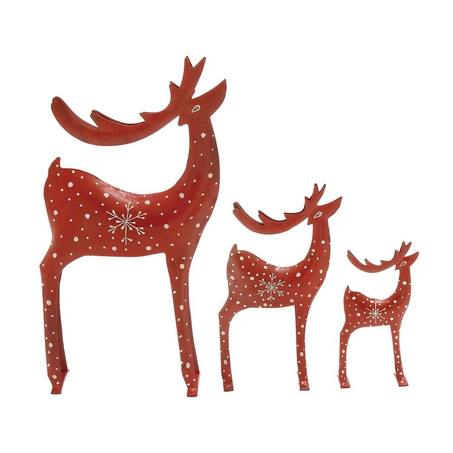 Shop woodland imports set of 3 metal freestanding reindeer for Christmas deer decorations indoor