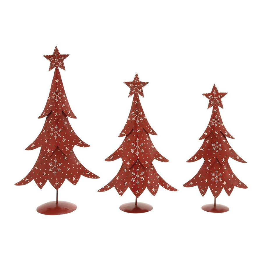 Woodland Imports Set of 3 Metal Tabletop Christmas Trees