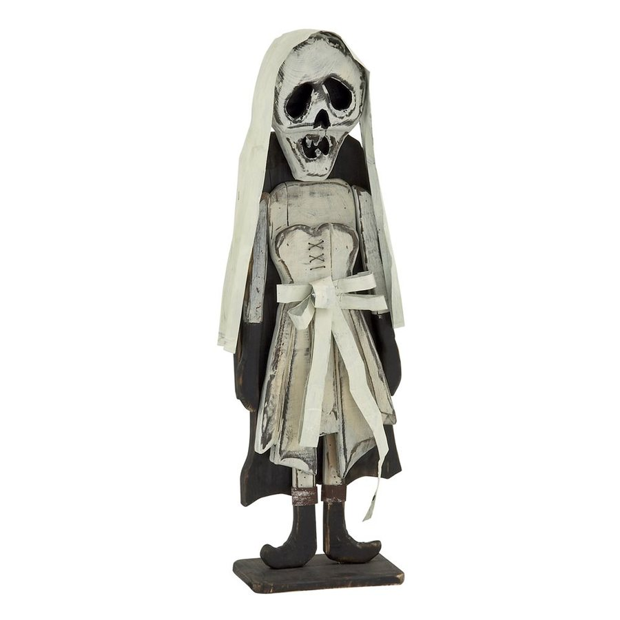 Woodland Imports Wood Freestanding Skeleton Bride Sculpture