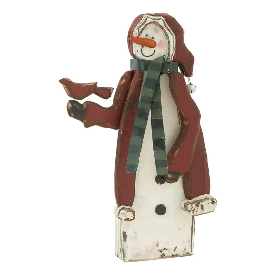 Woodland Imports Wood Freestanding Snowman Figurine