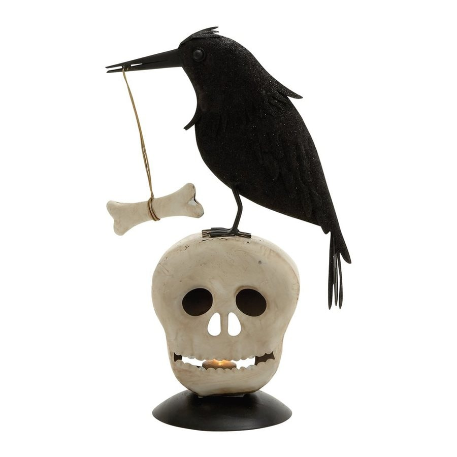 Woodland Imports Metal Tabletop Crow and Skull Candle Holder