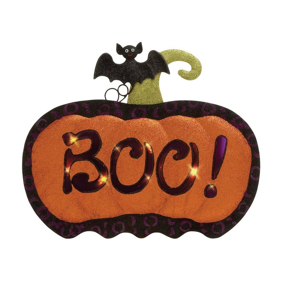 Woodland Imports Lighted Boo! Metal Tabletop Pumpkin Sign with White LED Lights