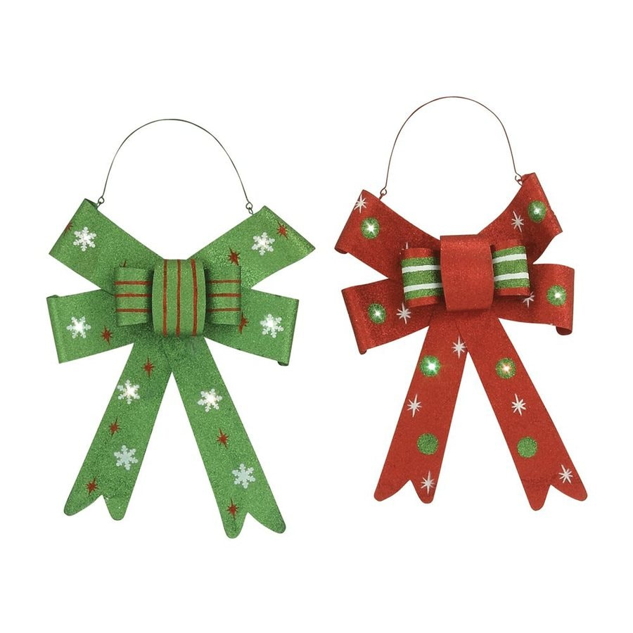 Woodland Imports Set of 2 Pre-Lit Metal Wall-Mounted Decorative Bows with White LED Lights