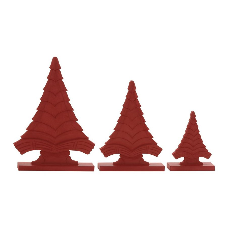 Woodland Imports Set of 3 Wood Tabletop Christmas Trees