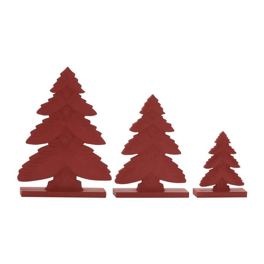 Woodland Imports Set of 3 Wood Tabletop Christmas Trees