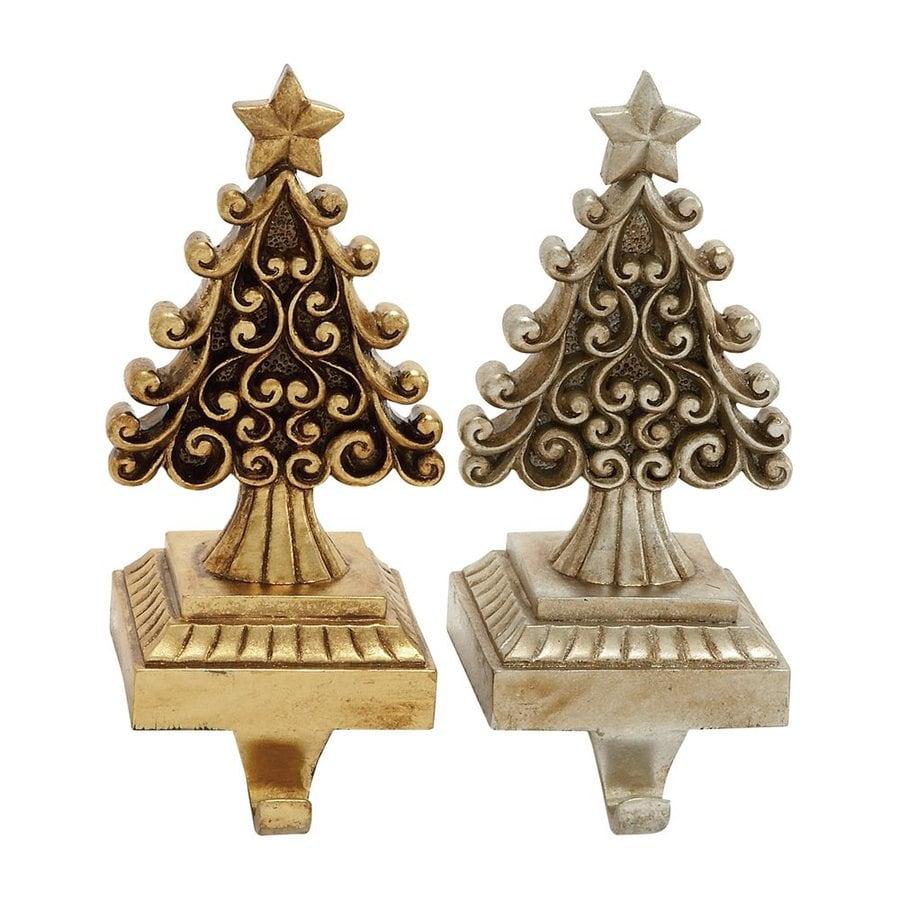 Woodland Imports Christmas Trees 2-Pack Decorative Resin Composite Stocking Holder