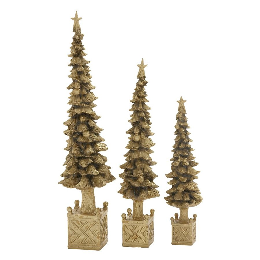 Woodland Imports Set of 3 Resin Tabletop Christmas Trees