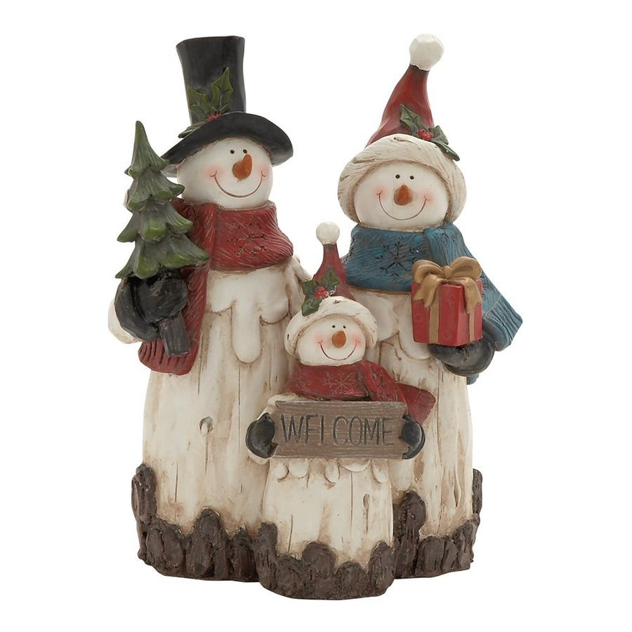 Woodland Imports Welcome Resin Tabletop Snowman Family Figurine