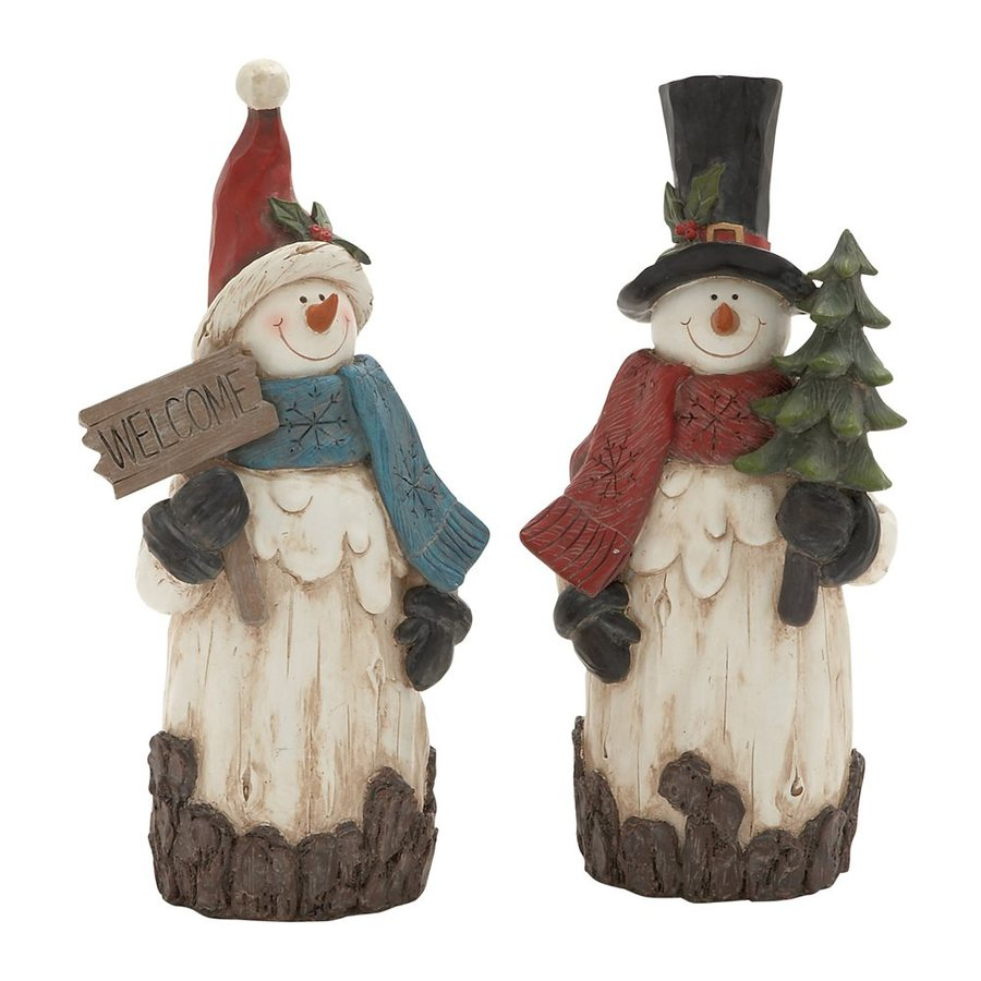 Woodland Imports Set of 2 Resin Tabletop Snowman Figurines