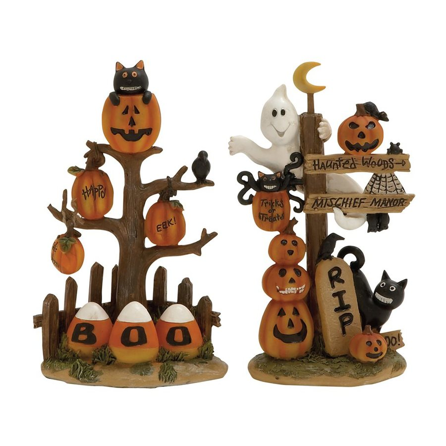 Woodland Imports Set of 2 Resin Tabletop Pumpkin Figurines with Various Halloween Signs
