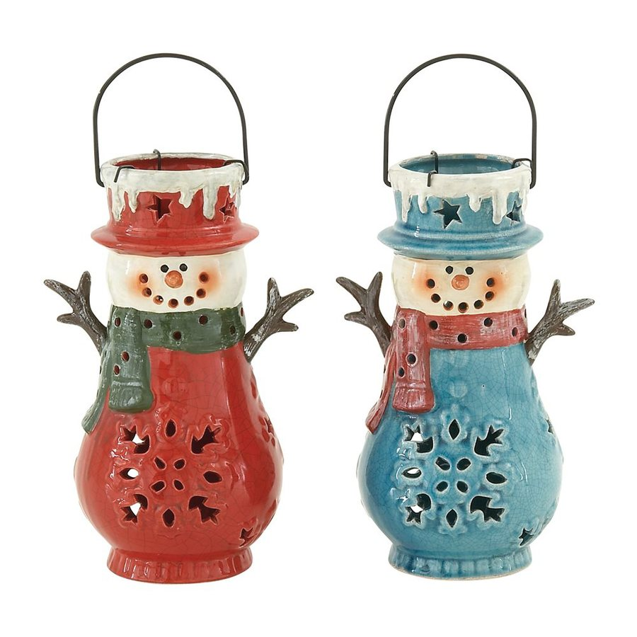 Woodland Imports Set of 2 Ceramic Snowman Christmas Candle Holders