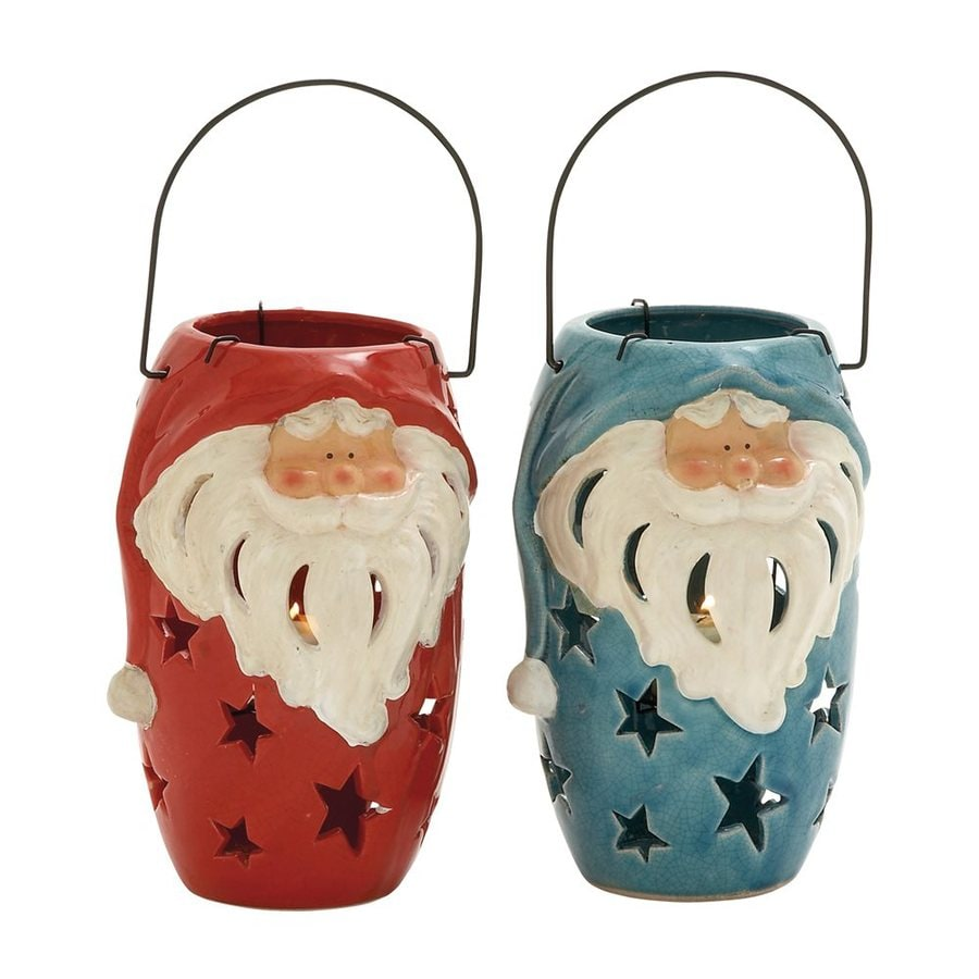 Woodland Imports Set of 2 Ceramic Santa Christmas Candle Holders