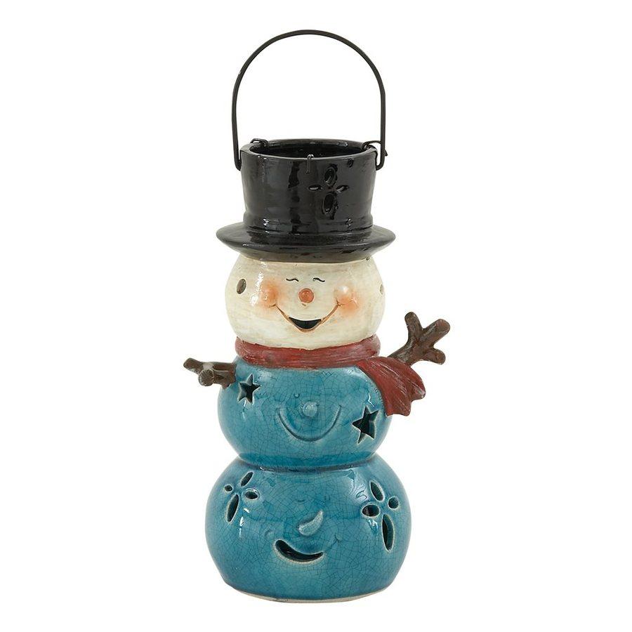 Woodland Imports 1 Candle Ceramic Christmas Snowman Candle Holder