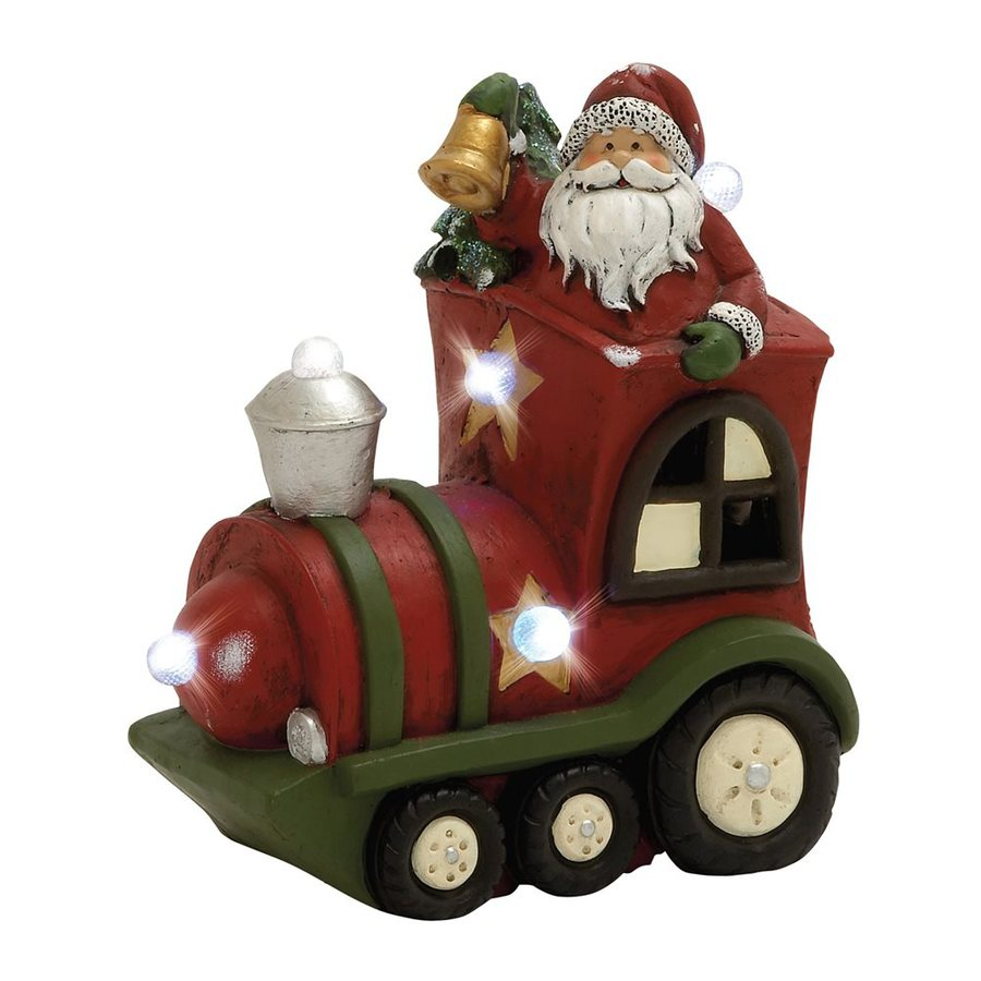 Woodland Imports Lighted Resin Santa Train Tabletop Figurine with White LED Lights